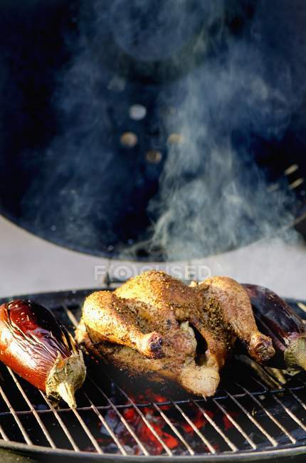 Chicken and aubergines on barbecue rack — Stock Photo