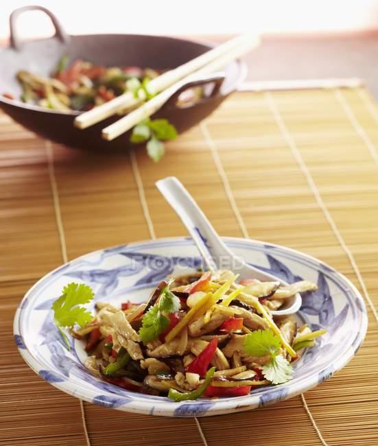 Detailansicht der Gai Pad Khing Huhn mit Ingwer — Stockfoto