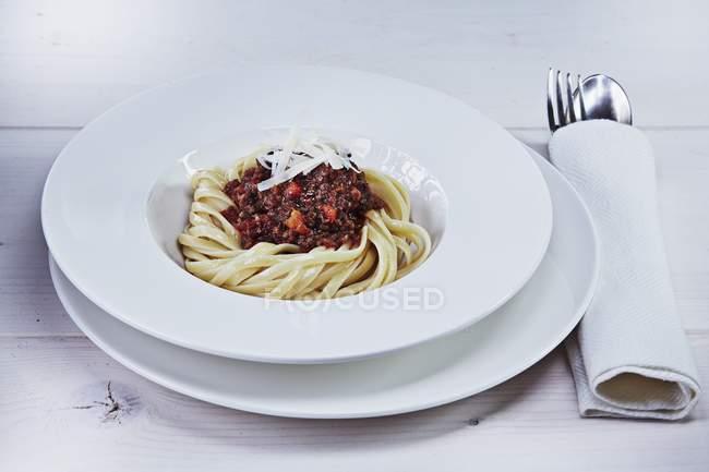 Tagliatelle with venison bolognese — Stock Photo
