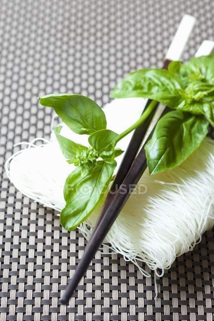 Nouilles de riz au basilic — Photo de stock
