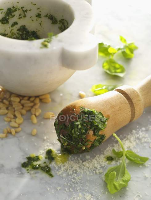 Basil pesto and ingredients — Stock Photo