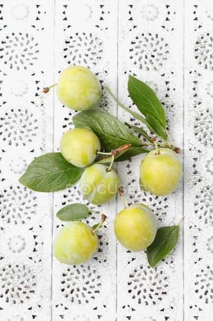 Recién recogido verdes ciruelas con hojas - foto de stock