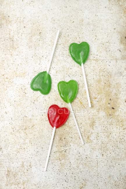 Pirulitos em forma de coração — Fotografia de Stock