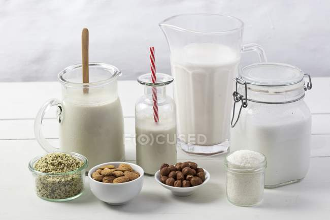 Vegane Milch mit Zutaten — Stockfoto