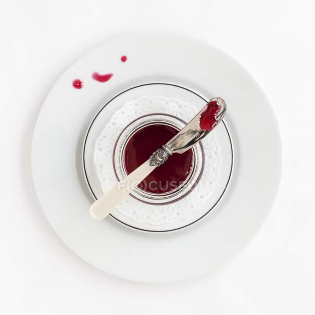 Вид сверху Гибискус сироп с ножом в белых блюда — стоковое фото