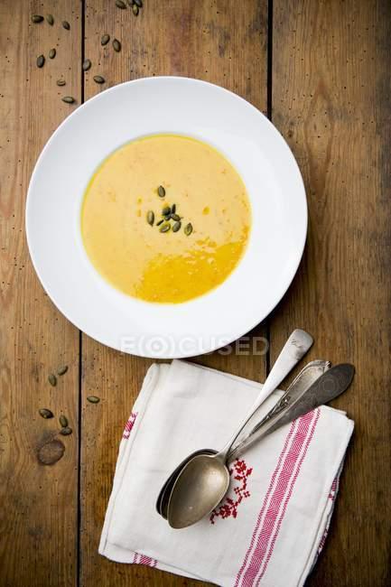Cream of pumpkin soup — Stock Photo