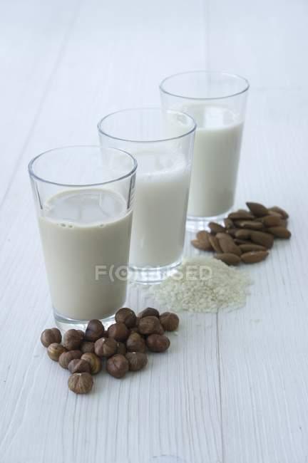 Орехи и молоко из орехов — стоковое фото