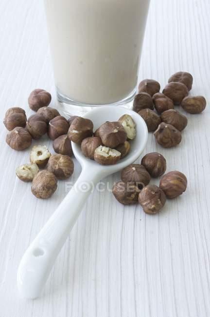 Молока фундук, ложка — стокове фото