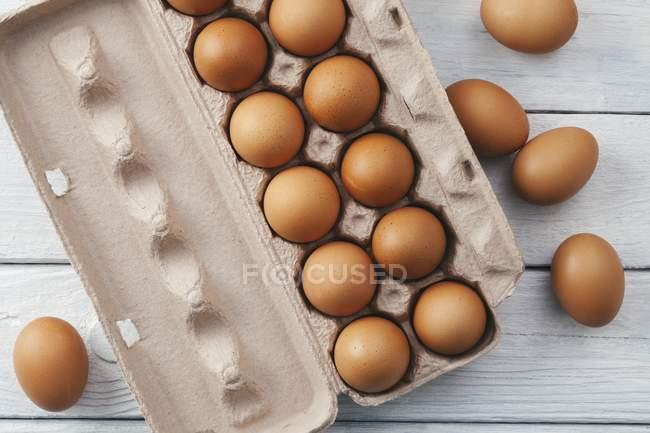 Яйца коричневые на яйцо шкатулка — стоковое фото
