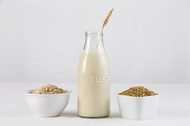 Flasche Hafermilch — Stockfoto