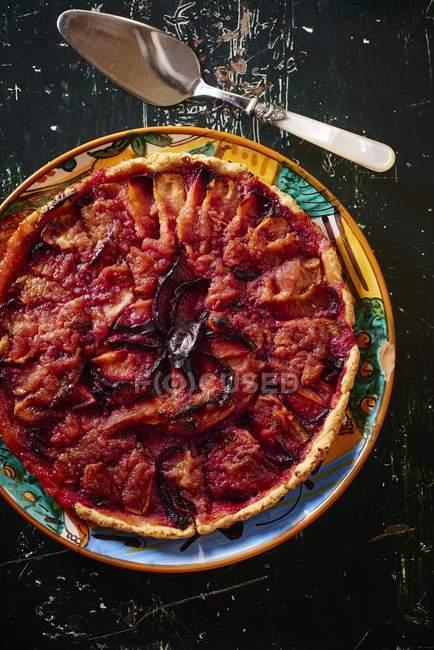 Crostata di prugne Quetsche grata — Foto stock