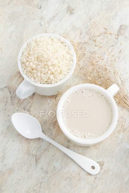 Reismilch und Tasse — Stockfoto