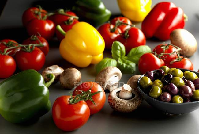 Peppers, tomatoes, mushrooms — Stock Photo