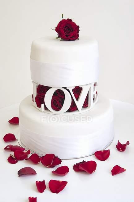 Duas camada de bolo de casamento — Fotografia de Stock