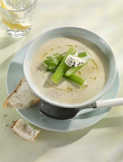 Celery soup with crme frache — Stock Photo