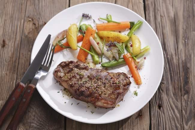 Entrecte con cara de verduras - foto de stock