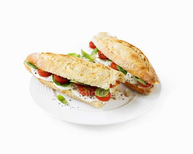 Basil baguette sandwiches — Stock Photo