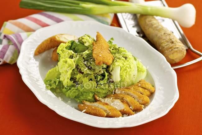 Куриные полоски с зеленым салатом — стоковое фото