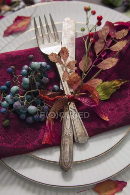 Крупним планом подання місце установки з антикварних столові прилади, прикрашені осіннього листя і ягід — стокове фото