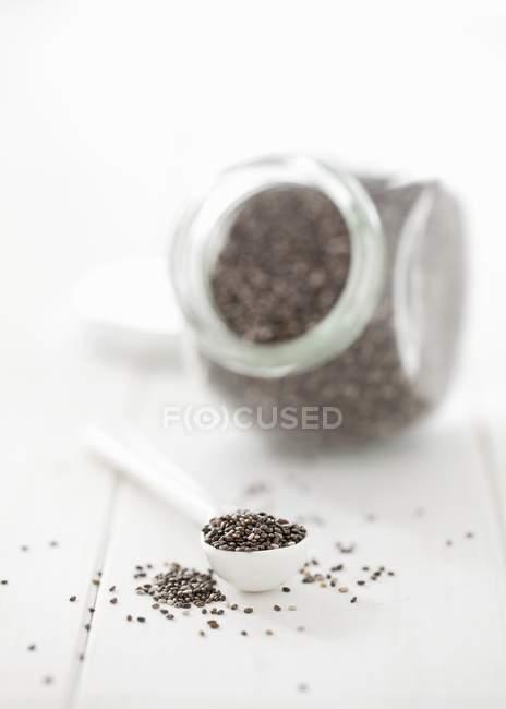 Semillas de chía en cuchara - foto de stock