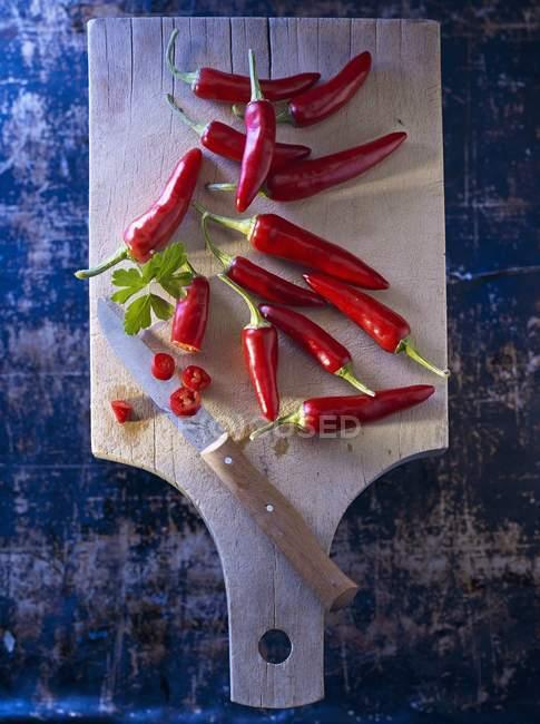 Peperoncini rossi con prezzemolo a foglia piatta — Foto stock