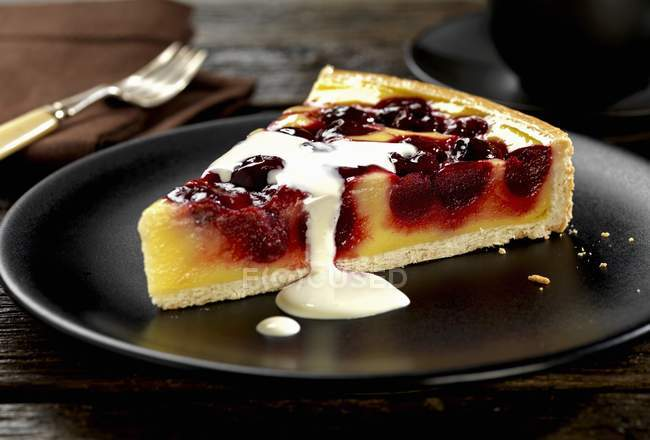 Scheibe Von Kirsche Und Vanille Pudding Torte Tart Kostliche