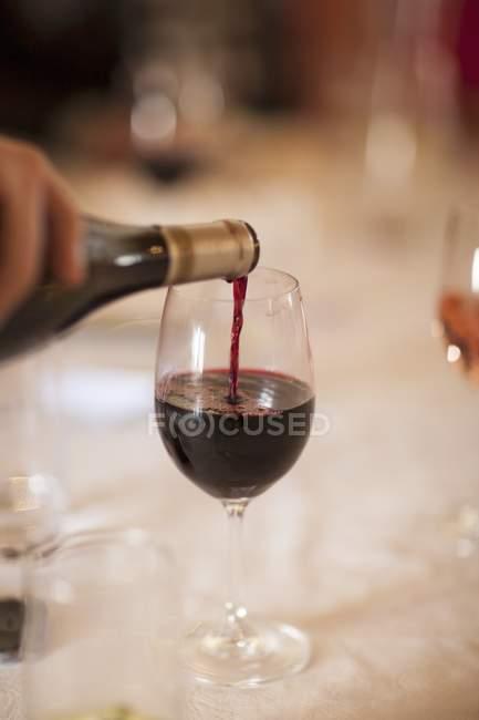 Бутылка и бокал красного вина — стоковое фото
