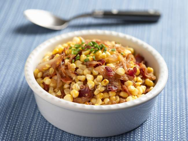 Corn Salad with Onions — Stock Photo