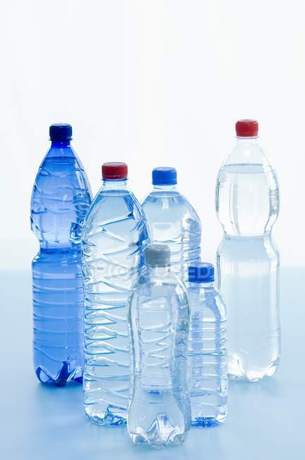 Closeup view of various bottles of mineral water — Stock Photo