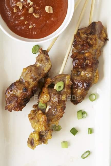 Rindfleisch-Spieße mit Frühlingszwiebeln — Stockfoto