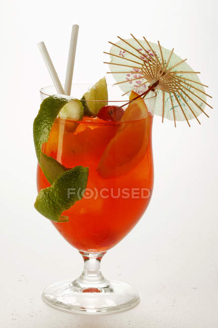 Cocktail with fruit in glass — Stock Photo