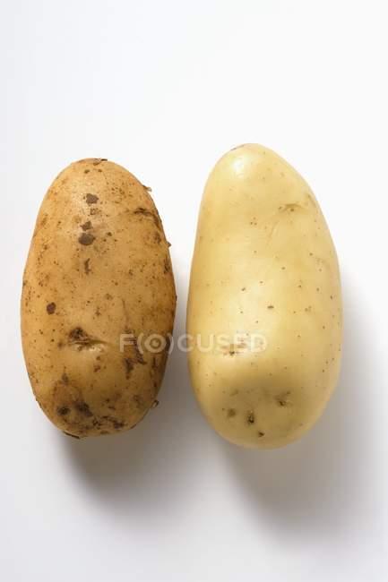 Zwei verschiedene rohe Kartoffeln — Stockfoto