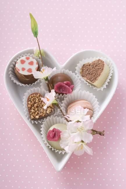 Несколько шоколадных конфет в тарелке — стоковое фото