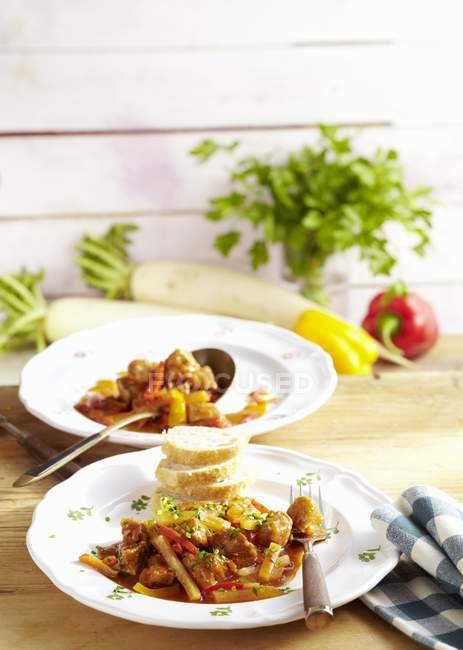 Radish and meat ragout — Stock Photo