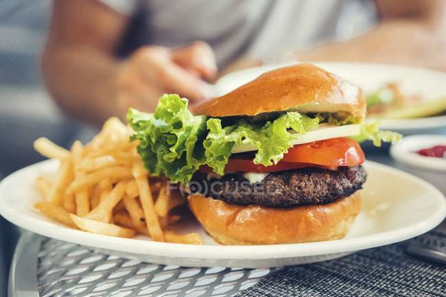 Cheeseburger and chips on plate — Stock Photo