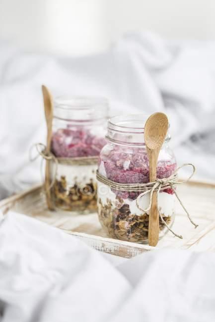 Muesli con yogurt in vasetti — Foto stock