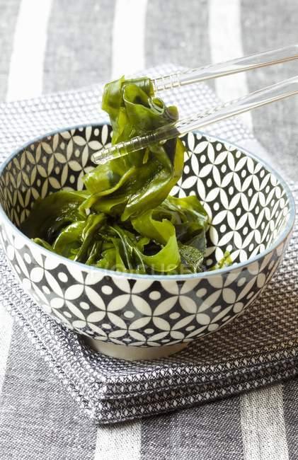 Erhöhten Blick auf eine gemusterte Schüssel mit Algen statt mit Glas-Ess-Stäbchen — Stockfoto