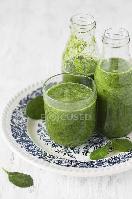 Smoothies espinafres verdes — Fotografia de Stock