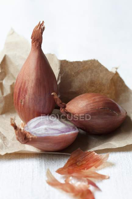 Shallots on brown paper — Stock Photo