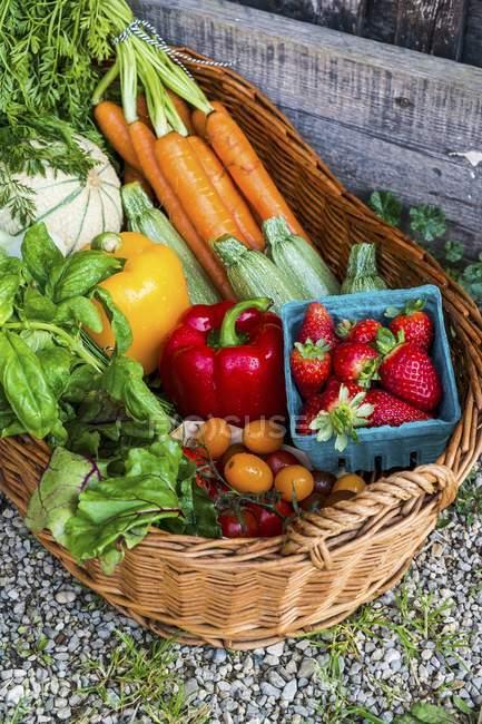 Un cesto di verdure fresche, frutti di bosco ed erbe aromatiche all'aperto — Foto stock