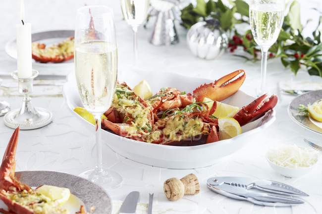 Gratinated lobster with Parmesan — Stock Photo