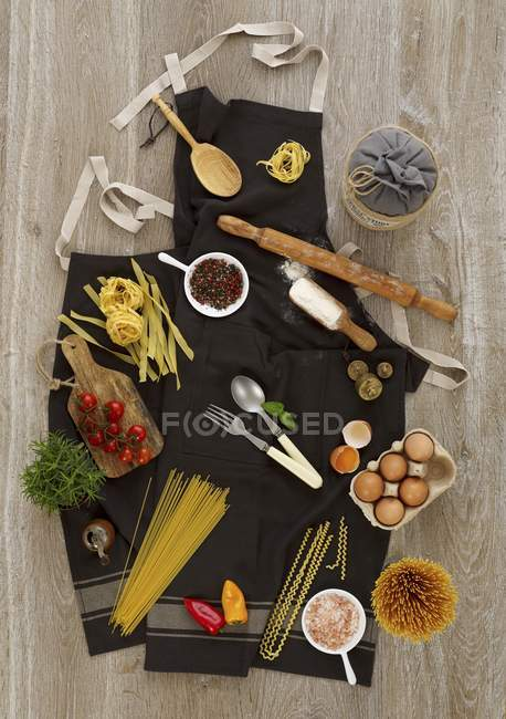 Ingredients for pasta dishes — Stock Photo