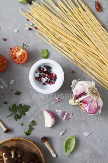 Arrangement of kitchen utensils and ingredients — Stock Photo