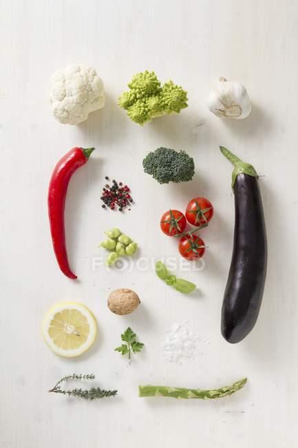 Різних овочів, спецій і трав, на білій поверхні — стокове фото