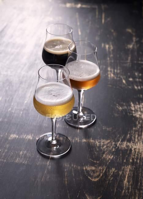 Три види пива — стокове фото