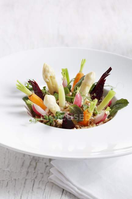 Various vegetables standing upright on a plate — Stockfoto