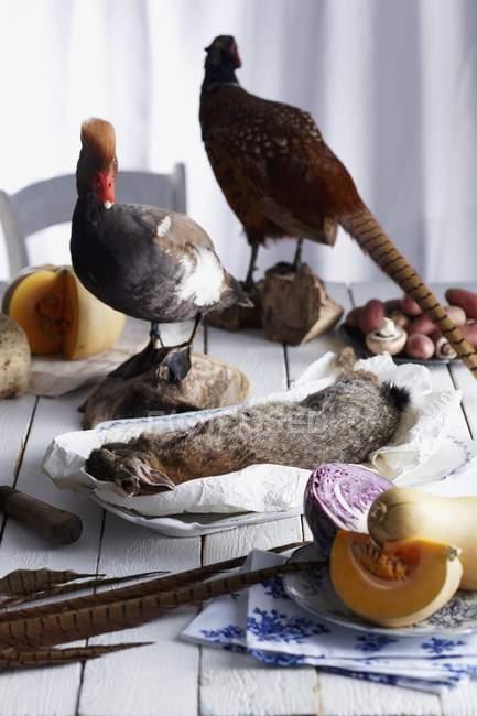 Un arrangement automnal de gibier mort et de légumes — Photo de stock