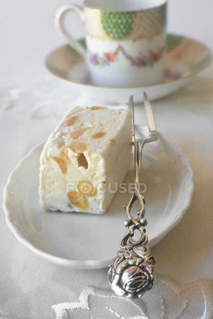White nougat and a mocha cup — Stock Photo