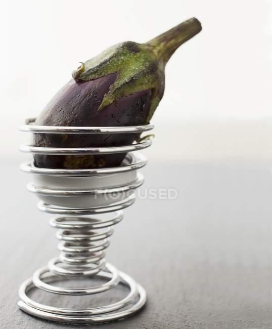 Baby aubergine in a spiral ice cream cone — Stock Photo