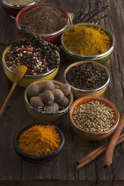 Elevated view of different spices selection — Stock Photo